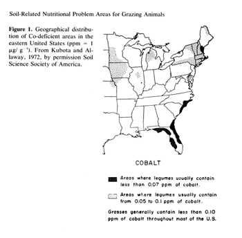 Cobalt map. Map taken from Kubota, Welch, and Van Campen. 1987. Adv. Soil Sci. 6:189-215 with permission